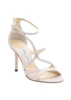 Jimmy Choo nude pearlescent snake printed leather 'Fenzy' strappy stiletto sandals