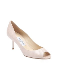Jimmy Choo nude pearlescent snake printed leather 'Isabella' pumps
