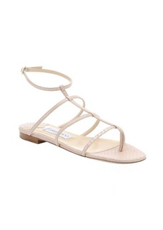Jimmy Choo nude snake embossed leather 'Doodle' t-strap sandals