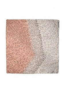 Jimmy Choo nude star and leopard print silk square scarf