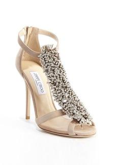 Jimmy Choo nude suede crystal pin 'Fortune' heel sandals
