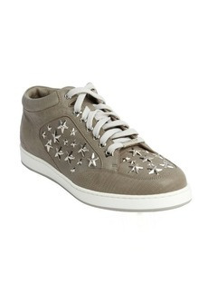 Jimmy Choo pebble croc embossed leather 'Miami' star studded lace up sneakers