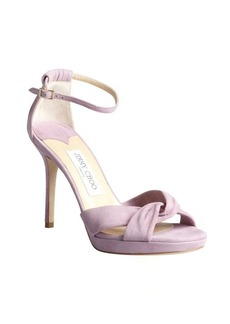 Jimmy Choo peony pink suede twisted strapped 'Marion' platform sandals