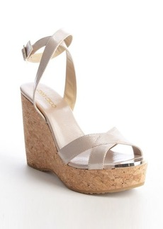 Jimmy Choo petal pink meallic leather 'Papyrus' strappy wedges