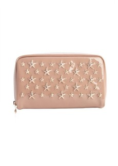 Jimmy Choo petal pink patent leather star studded zipper cosmetic pouch