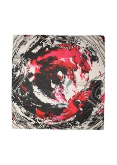 Jimmy Choo pink and black chain silk 'Nightmare' square scarf
