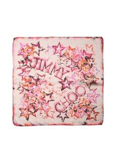 Jimmy Choo pink silk 'Foulard' star print scarf