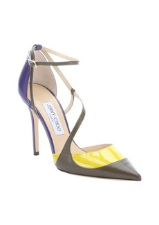 Jimmy Choo purple matte and patent leather 'Mutya' colorblock pumps