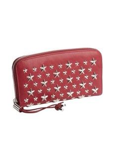 Jimmy Choo raspberry leather studded tassel zip wallet