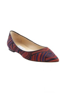 Jimmy Choo red and black fabric and leather woven pointed toe 'Alina' flats