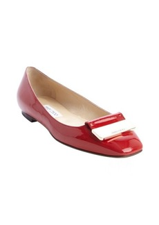 Jimmy Choo red patent leather engraved buckle detail 'Harlow' flats