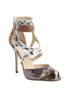Jimmy Choo redwood and dark silver leather and snakeskin 'Freesia' sandals