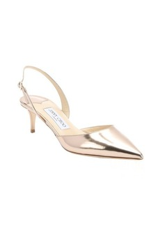 Jimmy Choo rose gold leather 'Tide' slingback kitten pumps