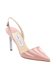 Jimmy Choo rose pink patent leather and suede 'Davit' slingback pumps