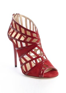Jimmy Choo scarlet red suede and patent leather cutout peep bootie