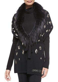Jimmy Choo Sequin-Embroidered Scarf with Fur, Black