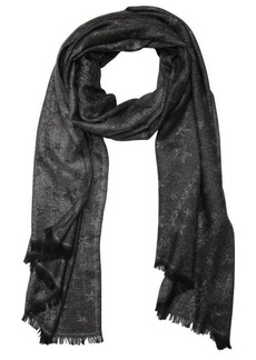 Jimmy Choo silver and black glimmer star and chain print woven frayed scarf