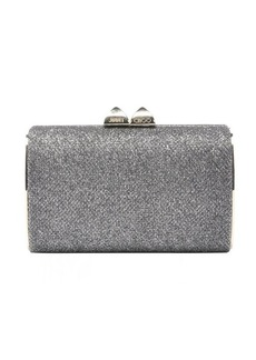Jimmy Choo silver glitter fabric 'Mini Charm' box clutch
