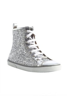 Jimmy Choo silver glitter leather side zip high tops