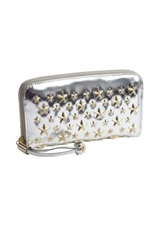 Jimmy Choo silver leather and gold studded 'Filipa' wallet