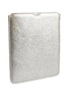 Jimmy Choo silver metallic leather 'Tyler' i-pad case