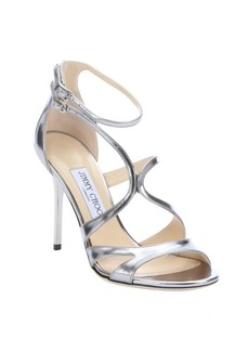 Jimmy Choo silver mirrored leather 'Furrow' strappy stiletto sandals
