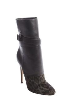 Jimmy Choo smoke black and leopard print calf hair boots