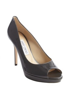 Jimmy Choo smoky grey patent leather peep toe pumps
