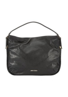 Jimmy Choo smooth black leather and snakeskin 'Zoe' hobo bag