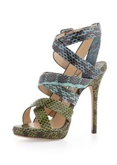 Jimmy Choo Strappy Snakeskin Sandal, Seamix