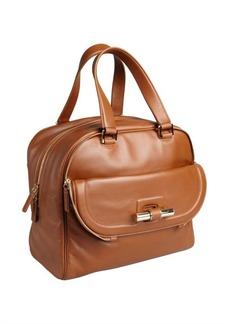 Jimmy Choo tan leather 'Justine' slide bar large satchel