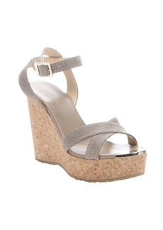 Jimmy Choo taupe leather and cork 'Papyrus' platform wedge sandals