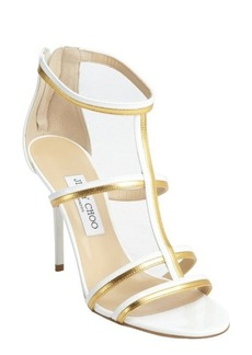 Jimmy Choo white and gold patent leather t-strap 'Thistle' sandals