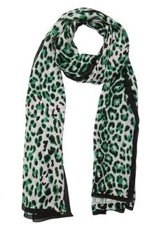 Jimmy Choo white and green silk 'Foulard' leopard print scarf