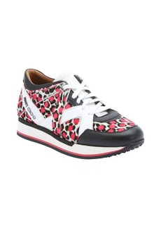 Jimmy Choo white and pink polka dot pony hair 'London' lace-up sneakers