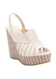 Jimmy Choo white leather and raffia 'Perdita' wedge sandals
