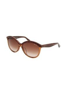 Jimmy Choo Women's Malaya Round Translucent Brown Sunglasses