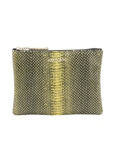 Jimmy Choo yellow python 'Nina' zip top cosmetic pouch