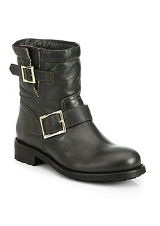 Jimmy Choo Youth Leather & Shearling Biker Boots