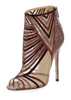 Kara Peep-Toe Snake Ankle Bootie, Multicolor   Kara Peep-Toe Snake Ankle Bootie, Multicolor
