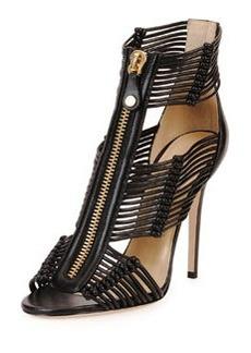 Katie Strappy Zip-Front Sandal, Black   Katie Strappy Zip-Front Sandal, Black