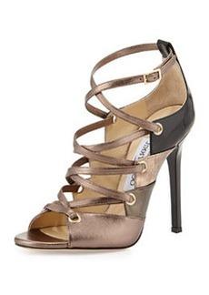Linger Leather Lace-Up Sandal, Gold Mix   Linger Leather Lace-Up Sandal, Gold Mix
