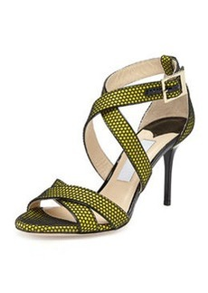 Louise Honeycomb Crisscross Sandal, Acid Yellow   Louise Honeycomb Crisscross Sandal, Acid Yellow