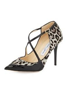 Mallow Calf Hair Crisscross Pump, Leopard/Black   Mallow Calf Hair Crisscross Pump, Leopard/Black