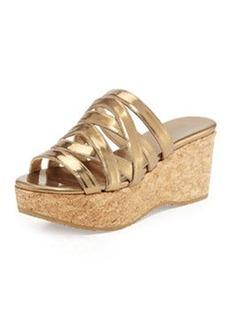 Nita Strappy Cork Wedge Slide, Antique Gold   Nita Strappy Cork Wedge Slide, Antique Gold