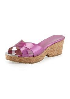 Panna Patent Crisscross Slide Sandal, Jazzberry   Panna Patent Crisscross Slide Sandal, Jazzberry
