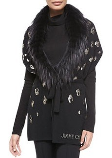 Sequin-Embroidered Scarf with Fur, Black   Sequin-Embroidered Scarf with Fur, Black