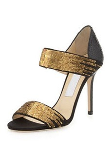 Tallow Sequined Snakeskin Sandal, Black/Gold   Tallow Sequined Snakeskin Sandal, Black/Gold