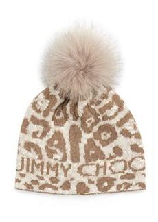 Woven Knit Cap w/ Fur Pom-Pom   Woven Knit Cap w/ Fur Pom-Pom