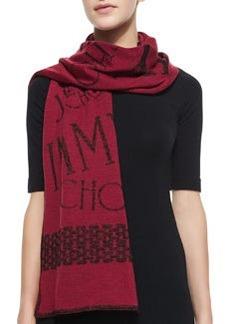 Woven Knit Scarf, Burgundy   Woven Knit Scarf, Burgundy